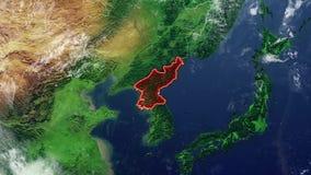 北朝鲜地图和边界 股票录像