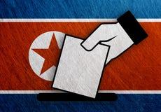 北朝鲜手表决,公民投票旗子 库存图片