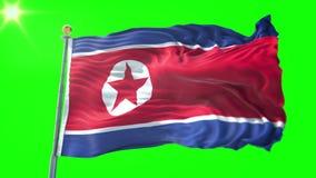 北朝鲜旗子无缝的使成环的3D翻译录影 美好纺织品布料织品圈挥动 皇族释放例证