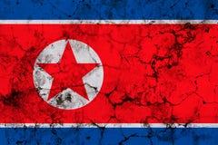 北朝鲜旗子难看的东西纹理 库存图片