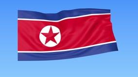 北朝鲜的挥动的旗子,无缝的圈 确切大小,蓝色背景 被设置的所有国家的地区 与阿尔法的4K ProRes 影视素材