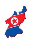 北朝鲜的旗子地图 免版税库存照片