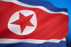北朝鲜的旗子 免版税库存照片