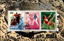 北朝鲜的老邮票 免版税库存照片
