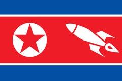 北朝鲜的老难看的东西旗子 军械士 战争 危险 扶手 导弹 图库摄影