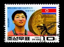 北朝鲜的金牌优胜者-巴塞罗那奥运会, serie, 库存图片