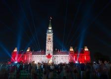 北极光光展示渥太华,安大略,加拿大 免版税库存照片