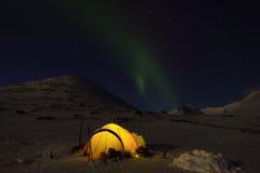 北极光和帐篷。 库存图片