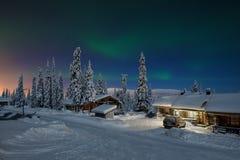 北极光在拉普兰 免版税库存图片