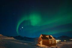 北极光在格陵兰 免版税库存照片