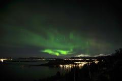 北极光极光borealis和星在树和山 图库摄影