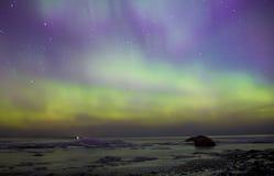北极光,拉多加湖,俄罗斯 图库摄影