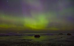北极光,拉多加湖,俄罗斯 免版税库存图片