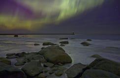 北极光,拉多加湖,俄罗斯 库存图片