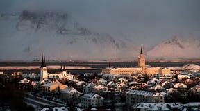 北极冬天太阳 库存照片