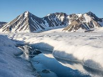 北极冰川风景-斯瓦尔巴特群岛,卑尔根群岛 免版税库存照片