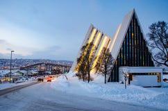 北极大教堂在特罗姆瑟,挪威 免版税库存照片