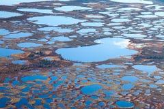 北极寒带草原沼泽地空中照片  免版税库存图片