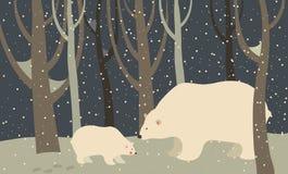 北极熊和崽在森林里 免版税库存照片