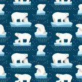北极熊无缝的样式 库存照片