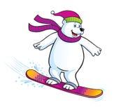 北极熊雪板运动 免版税库存图片
