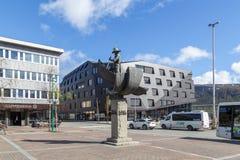 北极猎人纪念碑在特罗姆瑟 免版税图库摄影
