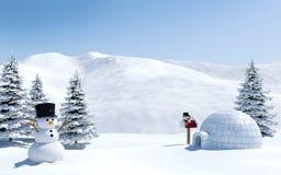 北极风景、雪原与园屋顶的小屋和雪人在圣诞节假日,北极 免版税库存照片