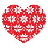 北欧人,冬天红色心脏样式 库存图片