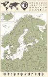 北欧地图和世界地图与航海象 免版税库存图片