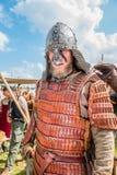 北欧海盗军队和斯拉夫人的介绍在主要争斗o前 免版税库存图片