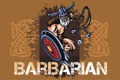 北欧海盗古代挪威人与大头短棒的吉祥人动画片 库存例证