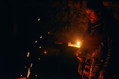 北欧海盗在铁匠铺 库存图片