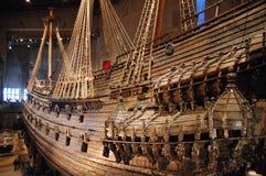 北欧海盗小船在Vasamuseet 免版税库存照片