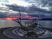 北欧海盗小船,雷克雅未克,冰岛 免版税库存照片
