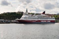 北欧海盗巡航轮渡在斯德哥尔摩运输加布里埃拉 免版税图库摄影