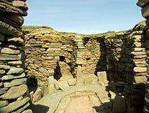 北欧海盗废墟, Jarslhof,舍德兰群岛,苏格兰 免版税图库摄影