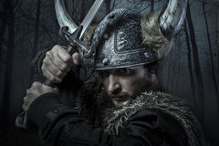 北欧海盗战士,男性在与剑,熊的野蛮样式穿戴了 库存照片