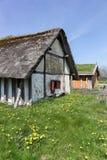 北欧海盗房子在里伯 免版税库存照片