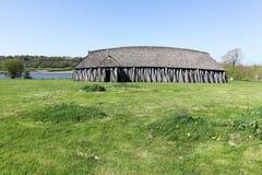 北欧海盗房子在Hobro,丹麦 库存图片