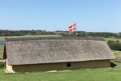 北欧海盗房子在Hobro,丹麦 免版税库存图片