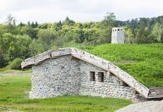 北欧海盗房子细节 免版税库存照片