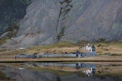 北欧海盗村庄废墟在冰岛 库存图片