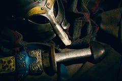 北欧海盗的衣物辅助部件  库存图片