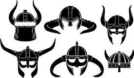 北欧海盗盔甲扎线战士集合 库存照片