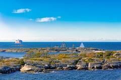 北欧海盗线在波罗的海的轮渡船 库存图片