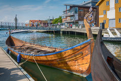 北欧海盗船在海湾, Tonsberg,挪威 库存照片