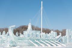 北欧海盗船由冰制成 免版税库存图片