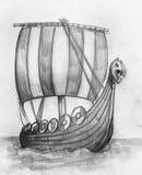 北欧海盗船drakkar剪影 库存例证