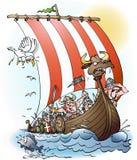 北欧海盗袭击动画片 免版税图库摄影