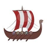 北欧海盗` s在白色背景在动画片样式的船象隔绝的 北欧海盗标志股票传染媒介例证 免版税库存照片